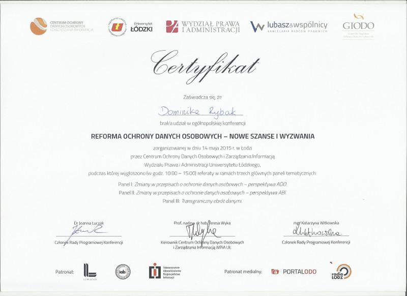 Certyfikat GIODO