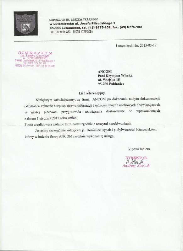 Referencje Gimnazjum Leszka Czarnego w Lutomiersku