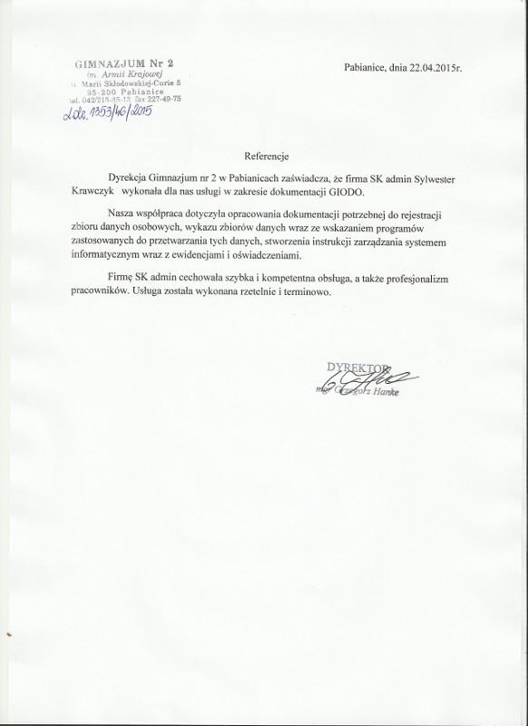 Referencje Gimnazjum nr 2 w Pabianicach