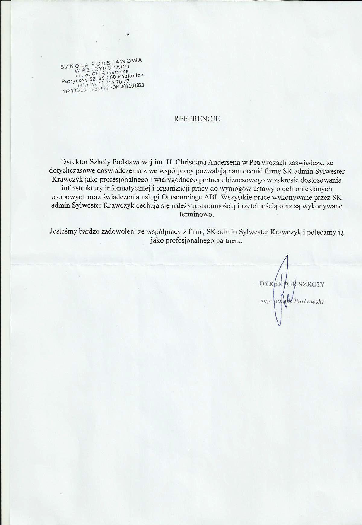 Referencje Szkoła Podstawowa w Petrykozach