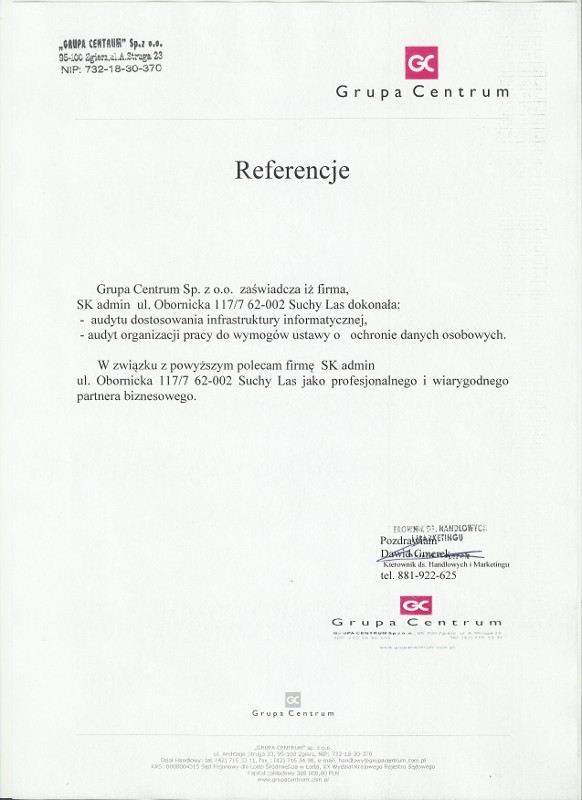 Referencje Grupa Centrum