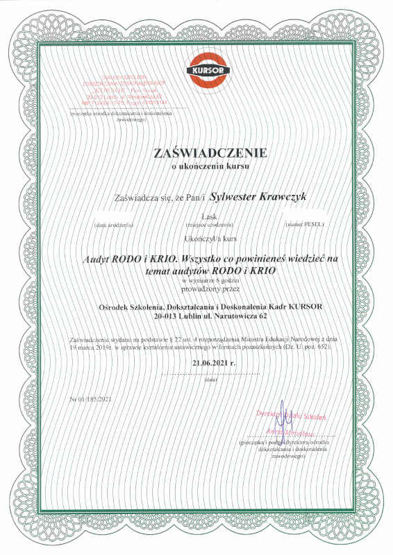 Certyfikat RODO i KRI